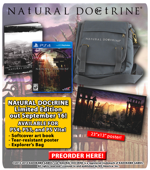 NAtURAL DOCtRINE out for PS4, PS3, and PS Vita on September 16! Preorder today!
