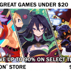 Sale banner featuring the games Disgaea 1 Complete, Labyrinth of Refrain: Coven of Dusk,  and The Witch and the Hundred Knight: Wicked Bundle. Text reads: Great Games Under $20. Save up to 90% on select titles on the PlaySation™ Store from 9/15-9/29.